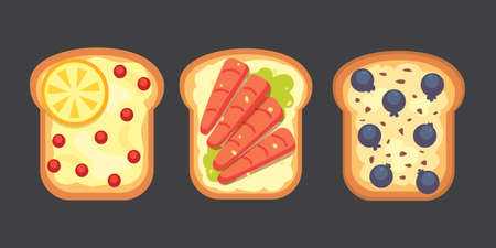 toasted: Set toasts and sandwich breakfast. Bread toast with jam, egg, cheese, blueberry, peanut butter, salami, fish. Flat vector illustration.