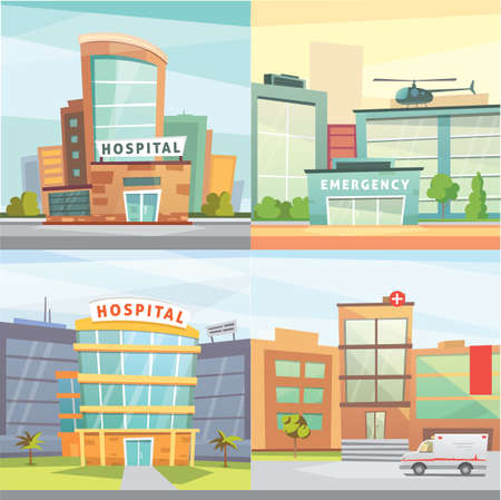 Set Hospital building cartoon modern vector illustration. Medical Clinic and city background. Emergency room exterior. Ilustrace