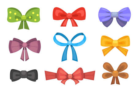 Cartoon cute gift bows with ribbons. color butterfly tie Vektorové ilustrace