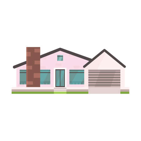 residental: Cottage and assorted real estate building icon. Residential house in cartoon style. Illustration