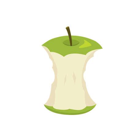 Vector illustration of green apple stump in cartooon style Illustration