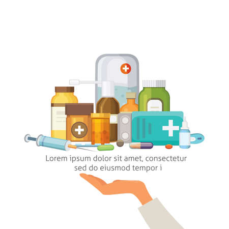 Pharmacy Concept with Pills Capsules. doctor hand holds tray with medicaments