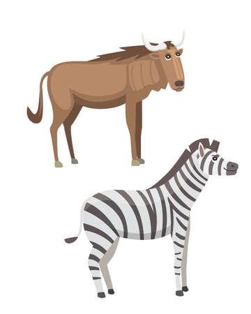 African animals cartoon set illustration.