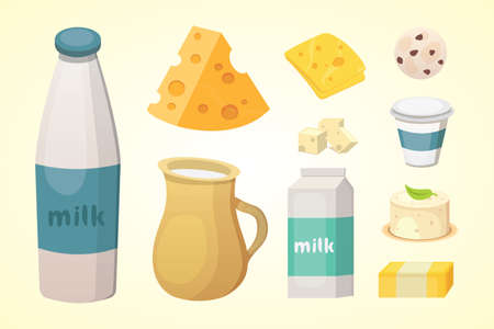 Fresh organic milk products set with cheese. Illustration
