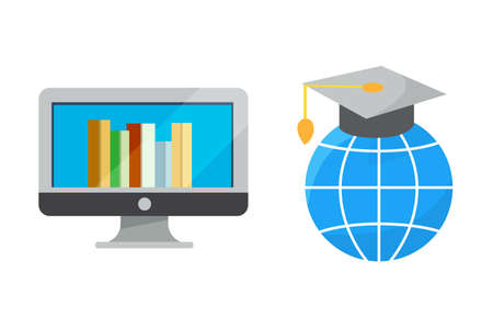 Flat design colorful vector illustration concept of distance education, online learning for web banners and print materials. E- webinar Isolated.