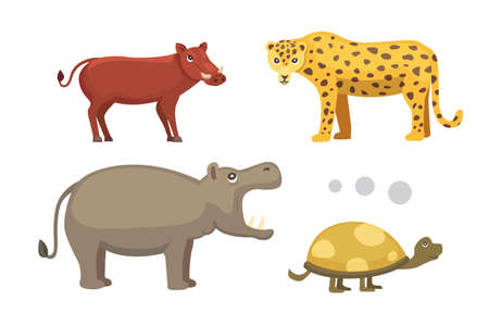 African animals cartoon vector set. elephant, rhino, giraffe, cheetah, zebra, hyena, lion, hippo, crocodile, gorila and outhers. safari isolated illustration. Illustration