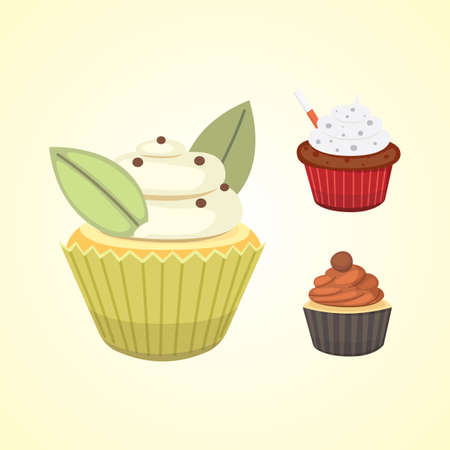 christmas backgrounds: Set of cute vector cupcakes and muffins. Colorful cupcake isolated for food poster design