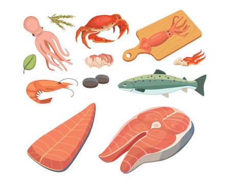 Vector Seafood illustrations set flat fresh fish and crab. Lobster and oyster, shrimp and menu, octopus animal, shellfish lemon