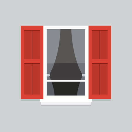 residential: interior window vector illustration. Architecture design outdoor or exterior view, building and home theme Illustration
