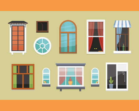 residential: different interior windows of various forms vector illustration. Illustration