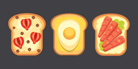 Set toasts and sandwich breakfast. Bread toast with jam, egg, cheese, blueberry, peanut butter, salami, fish. Flat vector illustration.