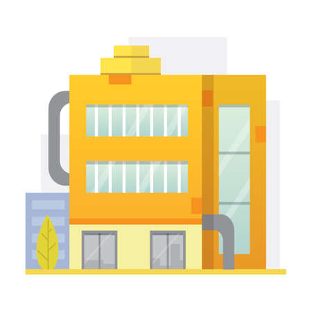 Retro Flat city House Icon. town building or private residential. modern apartment isolated