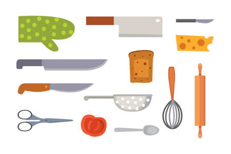 trinchante: Vector Set Kitchen Utensils. cooking tools flat style. cook equipment isolated objects Vectores
