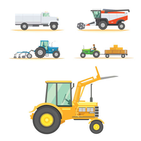 Set farm machinery. agricultural industrial equipment vehicles and farm machines. Tractors, harvesters, combines.