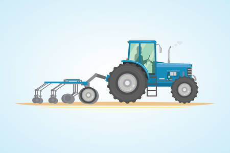 Farm tractor icon vector illustration. Heavy agricultural machinery for field work Ilustração