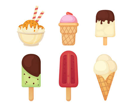 Colección de ilustraciones de helado de dibujos animados de vector. Comida de verano. Foto de archivo - 87978487