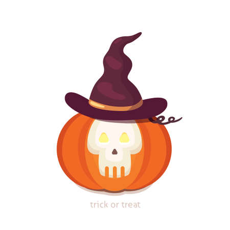 Halloween pumpkin with cute face on dark background. Vector cartoon Illustration.
