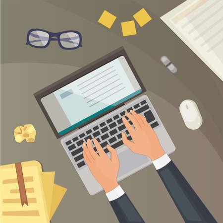 Flat design top view on desk concept Design. Blogging illustration laptop and hands