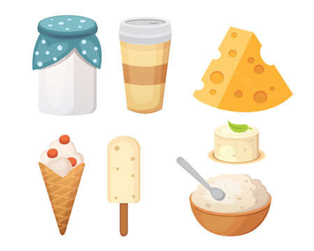 Fresh organic milk products set with cheese Ilustracja