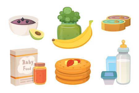 Juices and purees from green apples and broccoli for baby. food for baby cartoon products set.