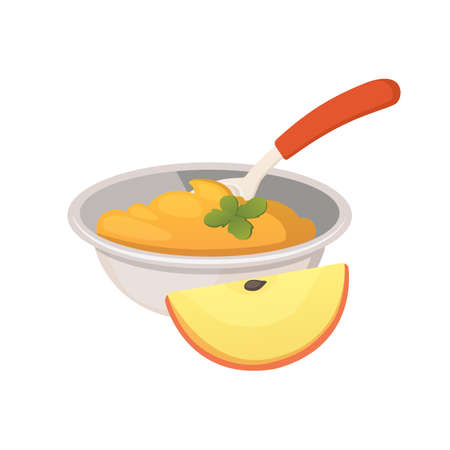 food for baby cartoon products set. apple puree