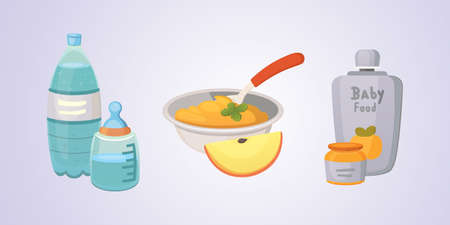 Juices and purees from green apples and broccoli for baby. food for baby cartoon products set Illustration