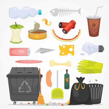 쓰레기와 쓰레기 만화 스타일에서 삽화를 설정합니다. 생분해 성 플라스틱 및 쓰레기통 아이콘. 일러스트