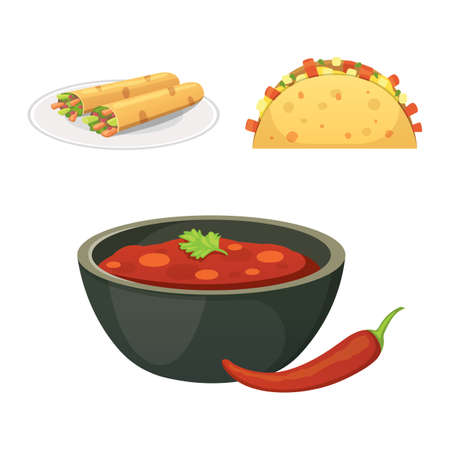Mexican cuisine cartoon dishes illustration set. Illustration