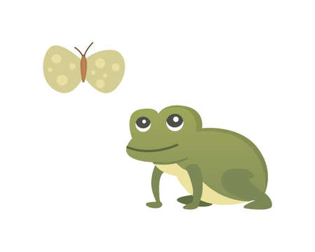 Cute frog cartoon vector isolated illustration.