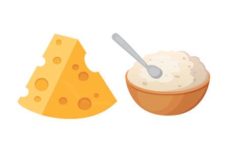 Prodotti lattiero-caseari freschi con formaggio. Vettoriali