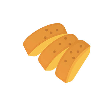 slices of sliced bread cartoon vector illustration Illustration