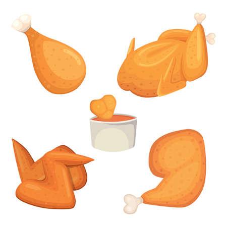 Mooie heerlijke gebraden kippenreeks illustraties in beeldverhaalstijl.