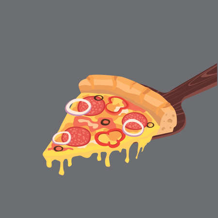 Slice of pepperoni pizza with cheese and salami Illustration