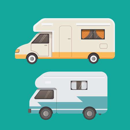 Retro camper trailer collection.  Car trailers caravan.