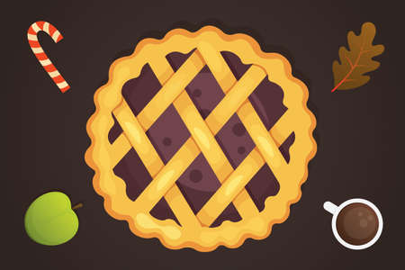 berry pie vector icon isolated. Thanksgiving Day illustration