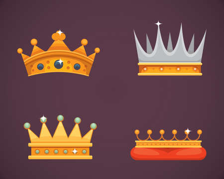 Collection of crown icons awards for winners, champions, leadership. Royal king, queen, princess crowns. Stock Photo