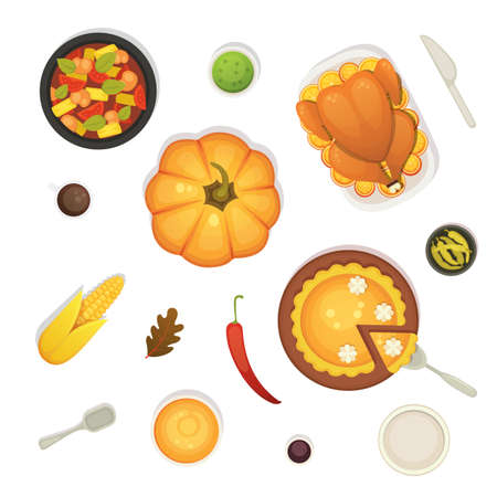 thanksgiving dish menu top view table with roasted turkey vector cartoon. Pumpkin Vector cartoon illustration.