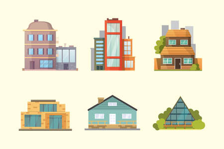 Set of different styles residential houses. City architecture retro and modern buildings. House front cartoon vector illustrations