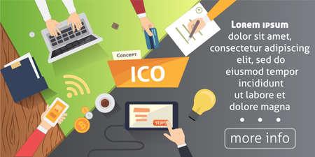 IT startup crowdfunding. Blockchain ICO vector illustration. Stock Photo