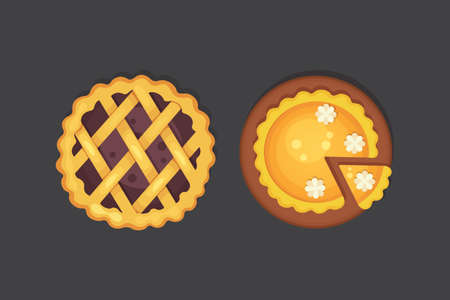 berry and pumpkin pie icon isolated. Thanksgiving Day illustration.