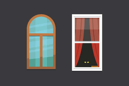 Different interior windows of various forms vector illustration