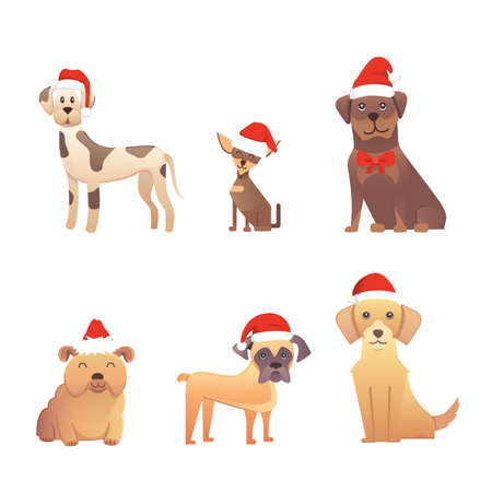 Set of cute dogs in red santas hat. Christmas puppy winter cartoon illustration