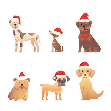 Set van schattige honden in rode kerstmuts. Kerst puppy winter cartoon afbeelding Stock Illustratie