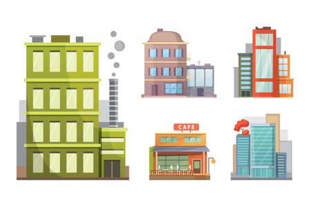 Flat design of retro and modern city houses. Old buildings, skyscrapers. colorful cottage building, cafe house 일러스트