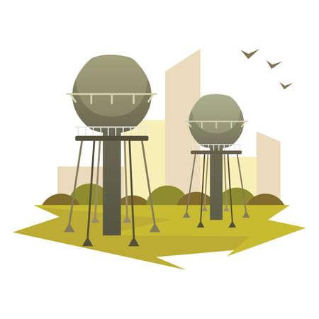 Building industrial factory vector cartoon isolated illustration. Illustration