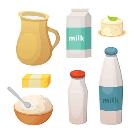 Fresh organic milk products set, vector illustration.