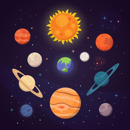 Conjunto de planetas de colores brillantes. Sistema solar, espacio con estrellas. Ilustración de vector de dibujos animados lindo. Ilustración de vector