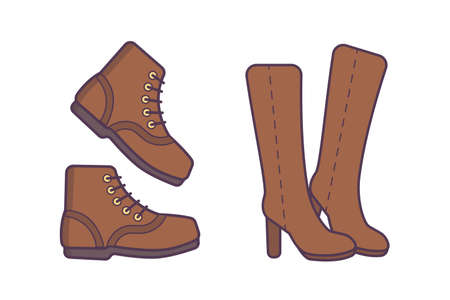 Winter or autumn shoes vector isolated illustration.