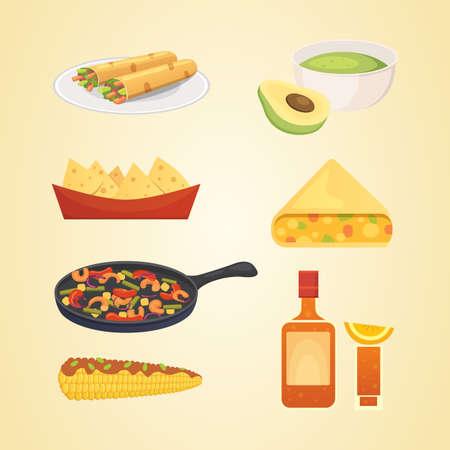 Mexican cuisine cartoon dishes illustration set vector Stock Photo