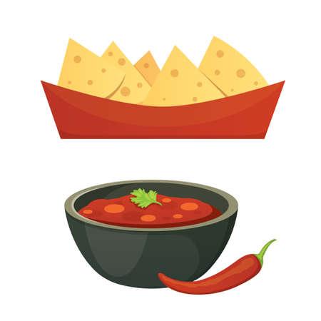 Mexican cuisine cartoon dishes illustration set